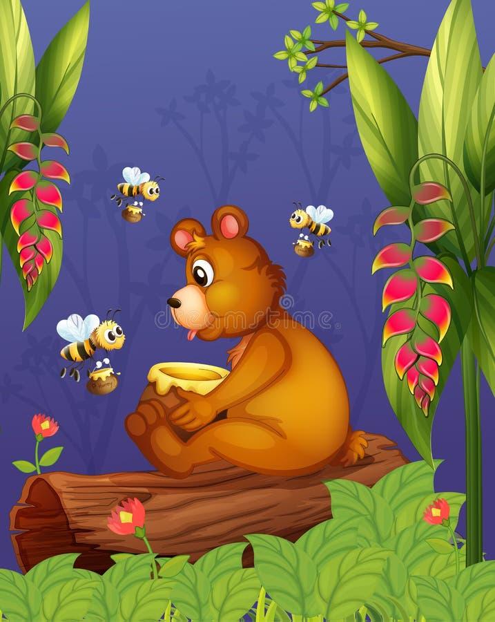 Медведь с 3 пчелами в лесе иллюстрация вектора
