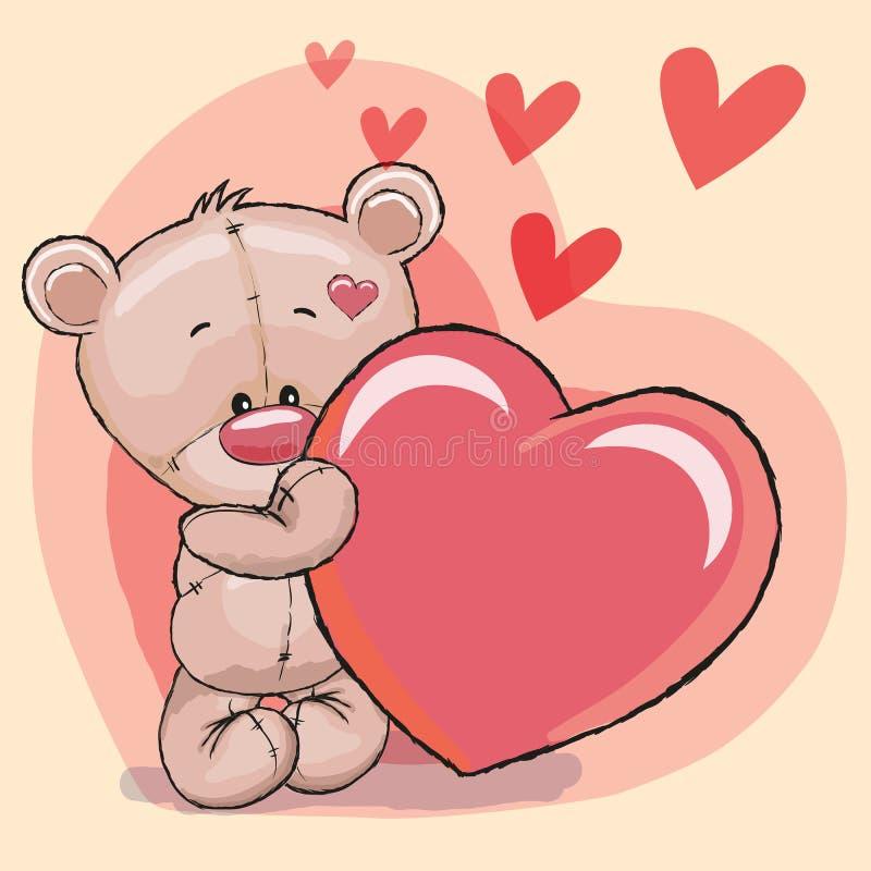 Медведь с сердцем иллюстрация вектора