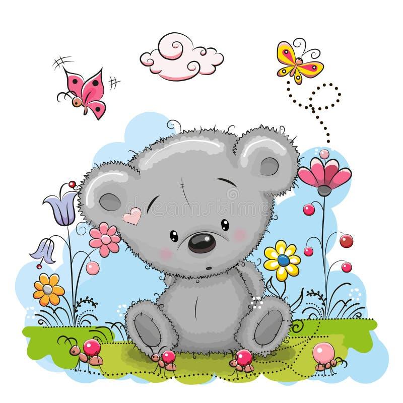 Медведь с цветками иллюстрация вектора