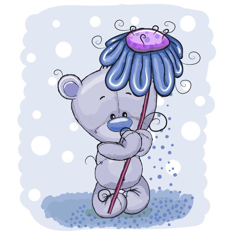 Медведь с цветком иллюстрация штока