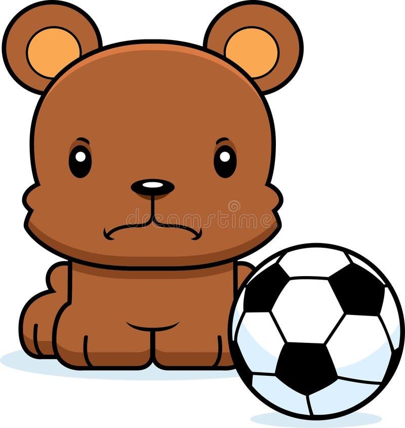 Медведь футболиста шаржа сердитый иллюстрация штока