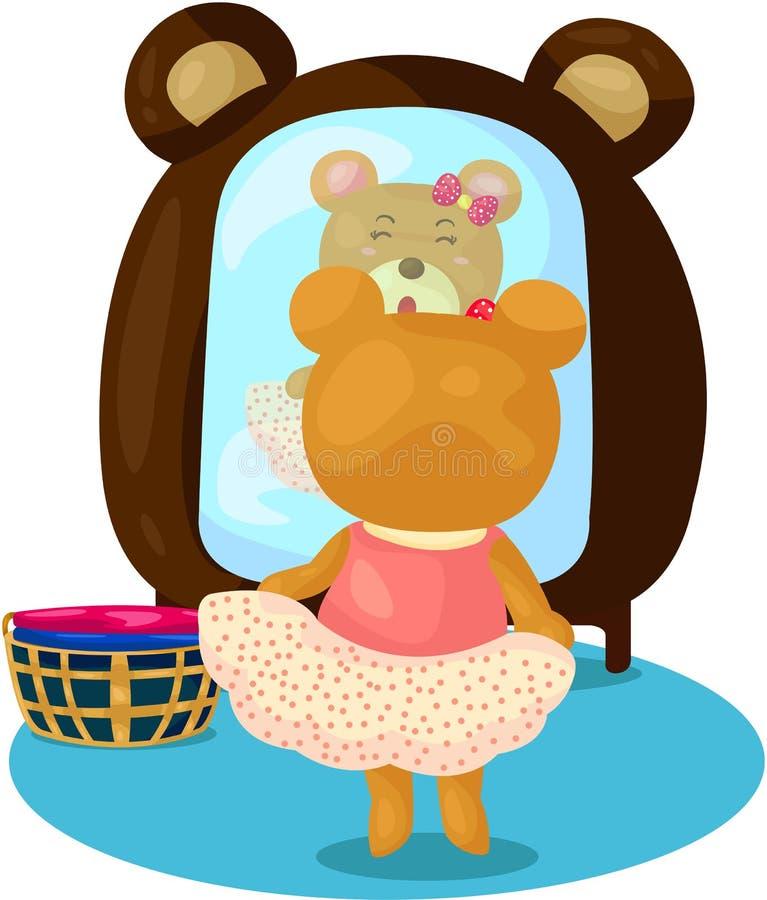 Медведь шаржа одевает иллюстрация штока