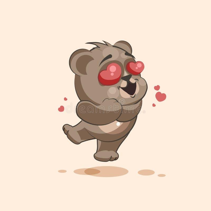 Медведь шаржа характера Emoji в летании влюбленности с смайликом стикера сердец иллюстрация штока
