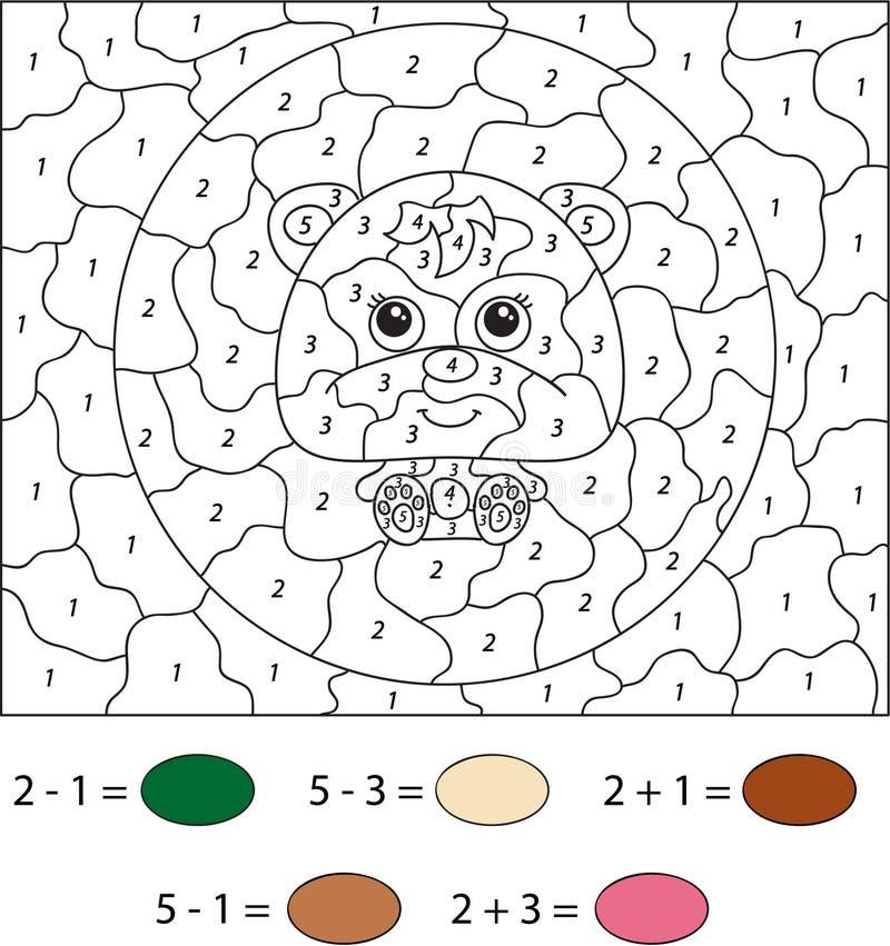 Медведь шаржа Цвет игрой номера воспитательной для детей вектор бесплатная иллюстрация