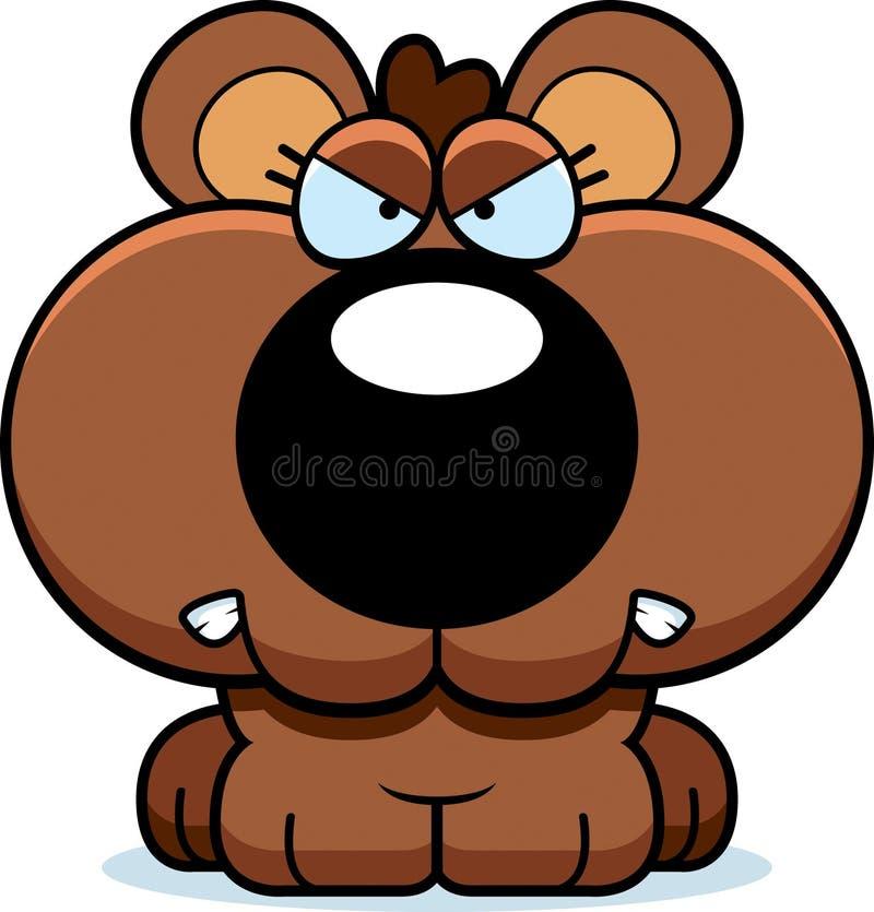 Медведь Cub шаржа сердитый иллюстрация вектора
