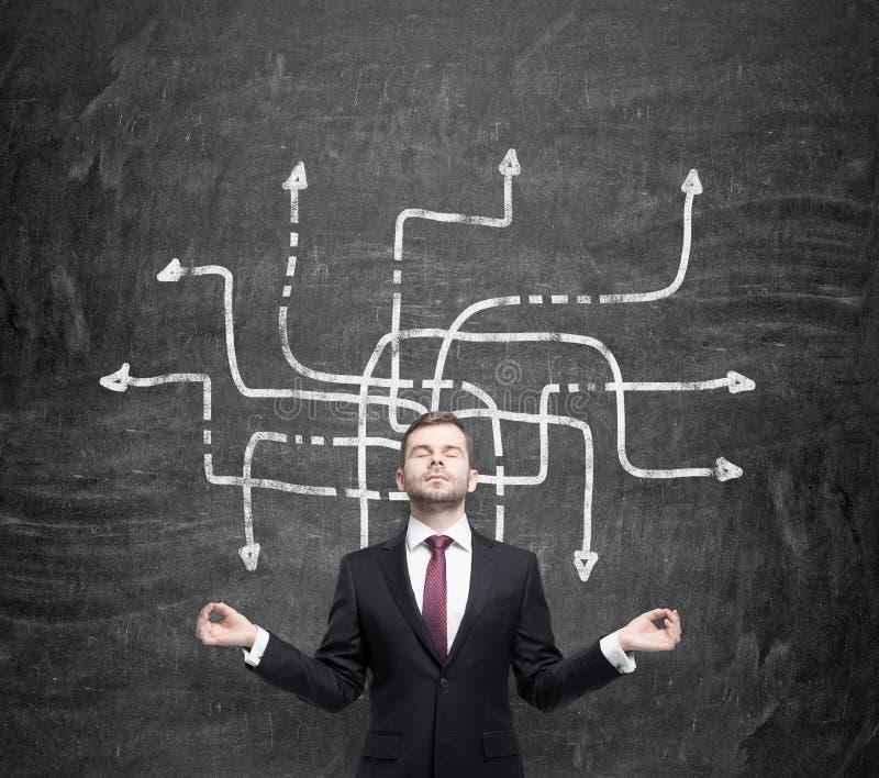 Медитативный красивый бизнесмен обдумывает о возможных решениях осложненной проблемы Много стрелок с различным direc стоковая фотография