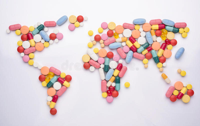 Медицина карты мира стоковая фотография rf