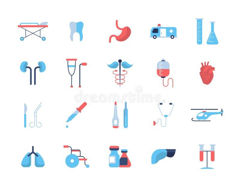 Медицина - плоские значки дизайна, пиктограммы иллюстрация вектора