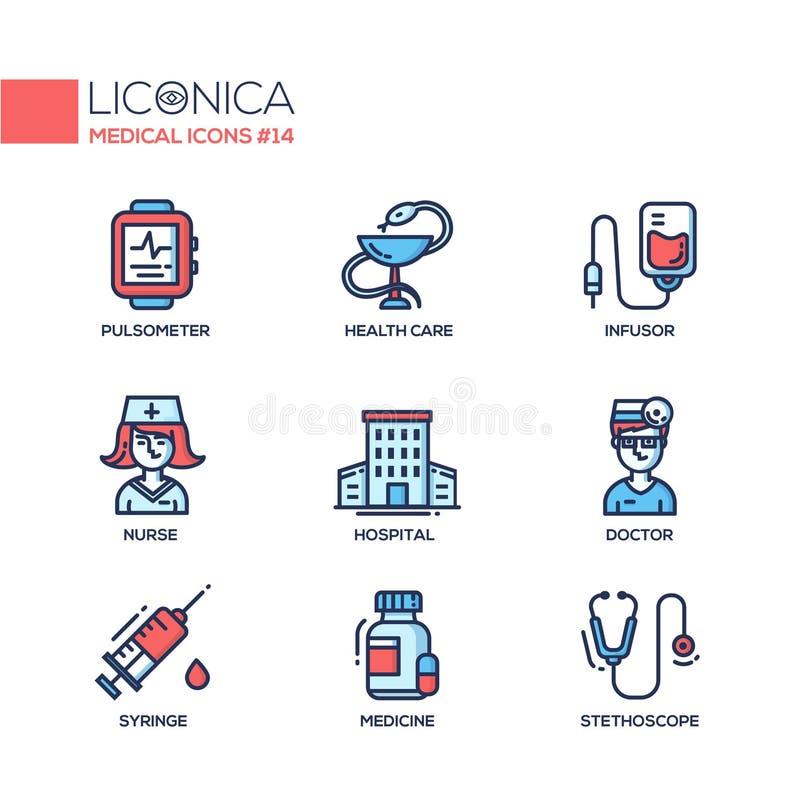 Медицина - тонкая линия значки дизайна, пиктограммы иллюстрация штока