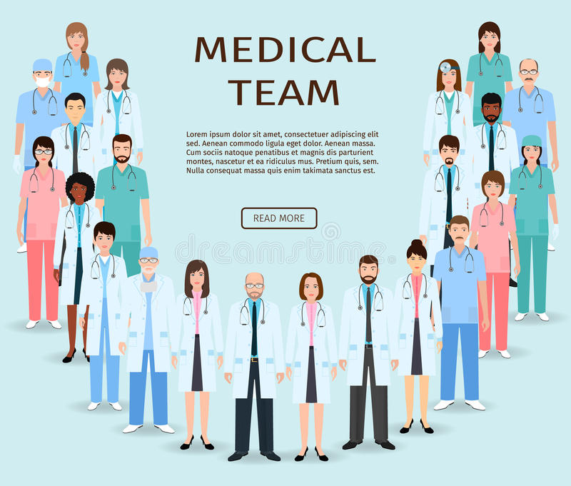 Медицинская бригада Доктора и медсестры группы стоя совместно Знамя вебсайта медицины Персонал больницы иллюстрация штока