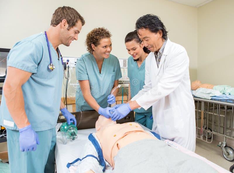 Медицинская бригада регулируя трубку в думмичном пациенте стоковая фотография rf
