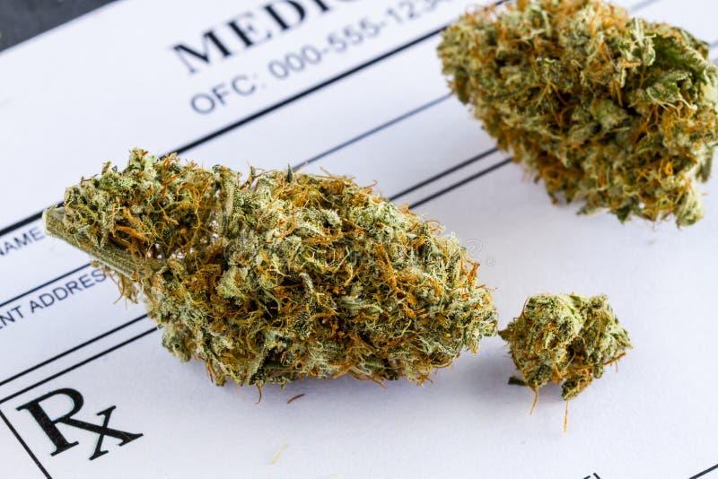 Медицинские бутоны марихуаны на черной предпосылке стоковые изображения
