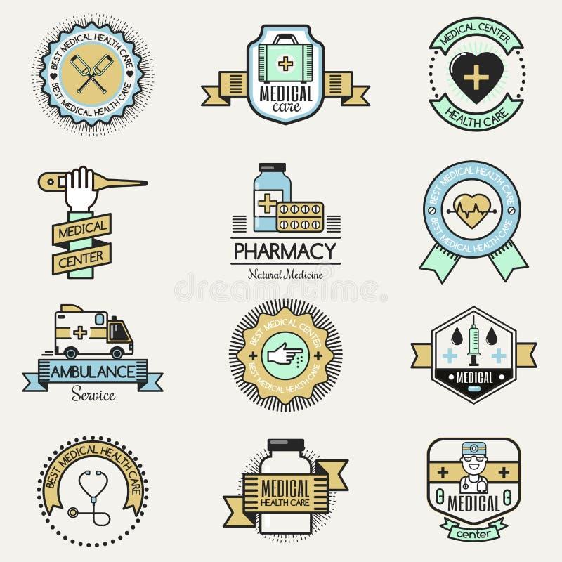 Медицинские концепции призрения шаблонов дизайна значка логотипа заботы клиники больницы центра семьи vector логотип здравоохране бесплатная иллюстрация