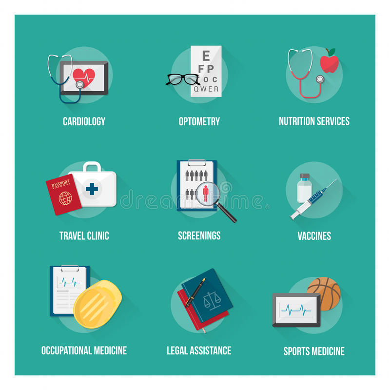 Медицинские обслуживания и здравоохранение иллюстрация штока