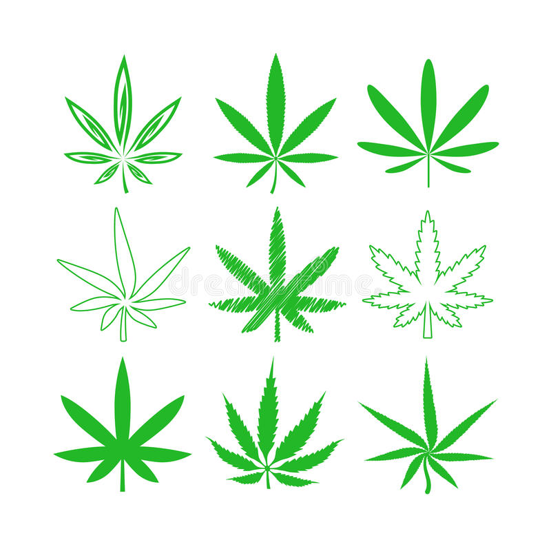 Медицинские установленные значки вектора марихуаны или конопли бесплатная иллюстрация