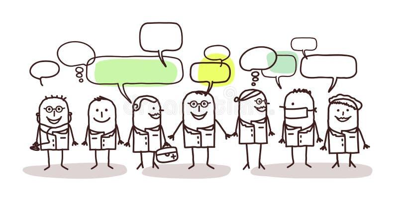 Медицинские люди и социальная сеть иллюстрация вектора
