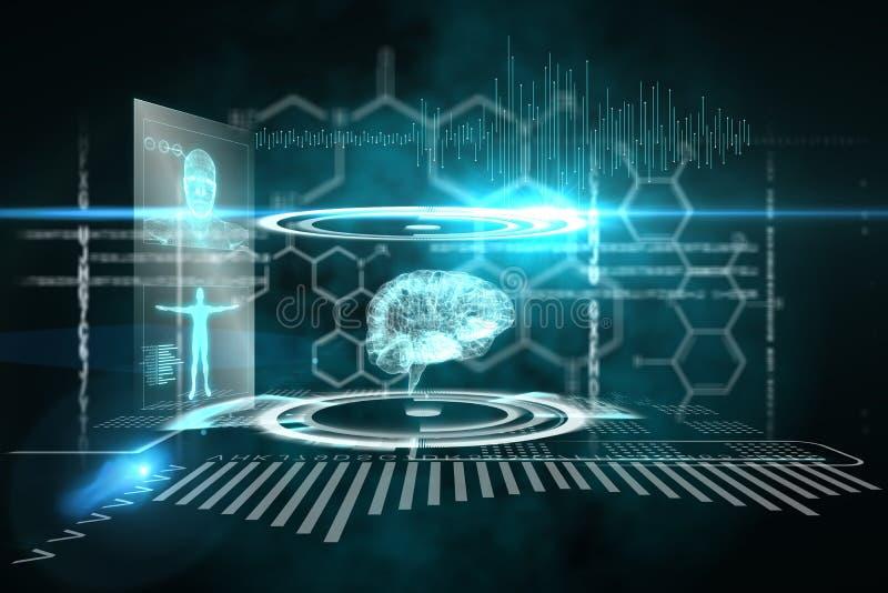 Медицинский интерфейс в черной и голубом бесплатная иллюстрация