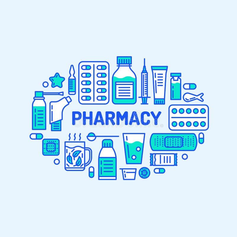 Медицинский, иллюстрация знамени аптеки Линия таблетка вектора фармации значков, капсулы, пилюльки, антибиотики, витамины и иллюстрация вектора
