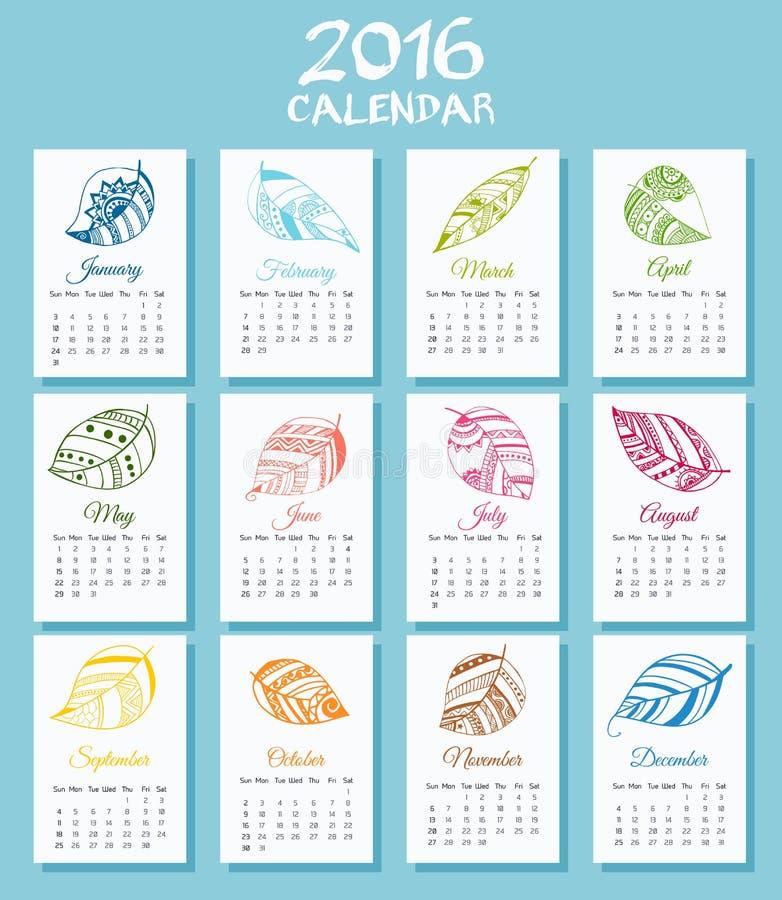 Медицинский календарь на новая неделя 2016 год начинает в воскресенье иллюстрация вектора