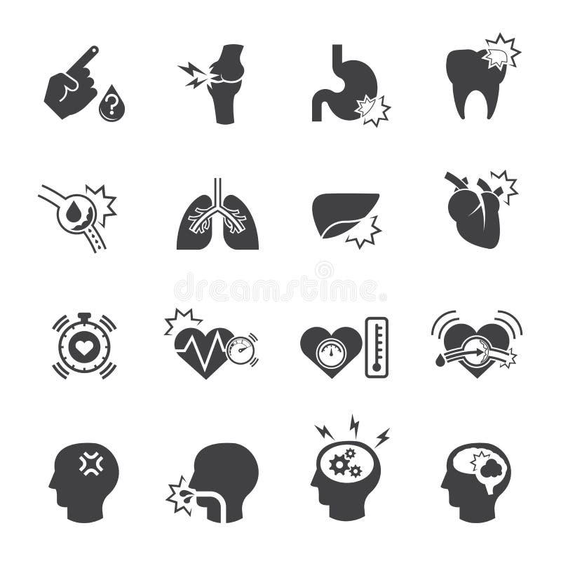 Медицинский комплект значка, боль иллюстрация штока