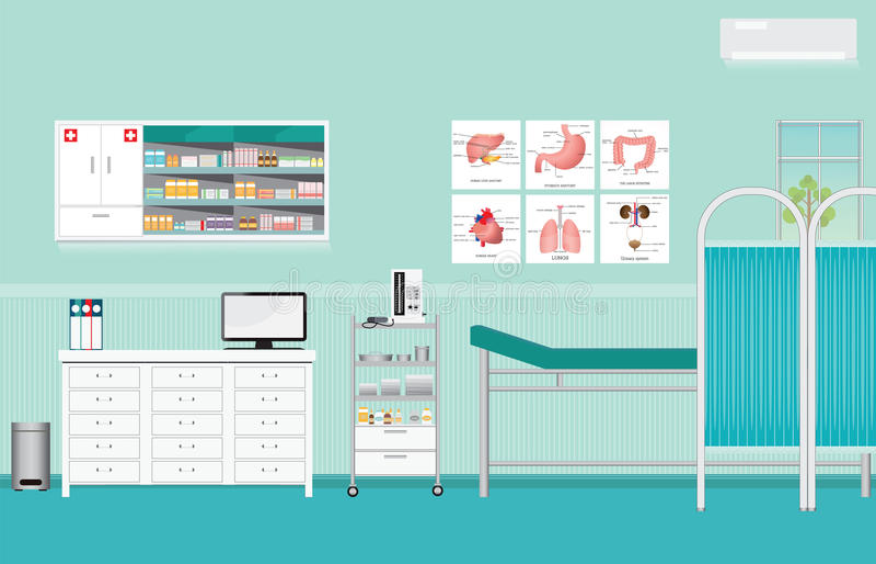Медицинский осмотр или медицинская проверка вверх по внутренней комнате стоковое изображение rf
