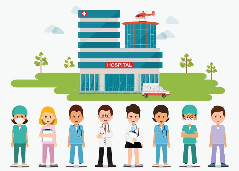 Медицинский персонал стоя перед зданием больницы с ambula иллюстрация штока
