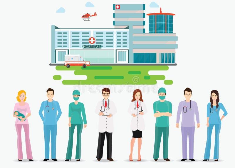 Медицинский персонал стоя перед зданием больницы бесплатная иллюстрация