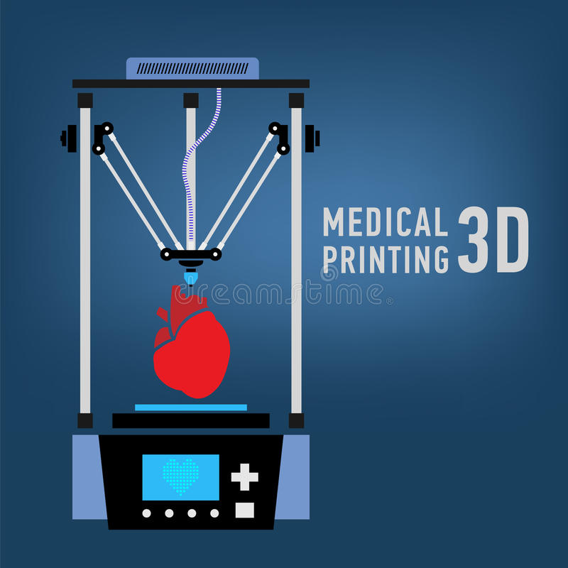 Медицинский принтер для повторянных человеческих органов Био-принтер 3D вектор иллюстрация штока