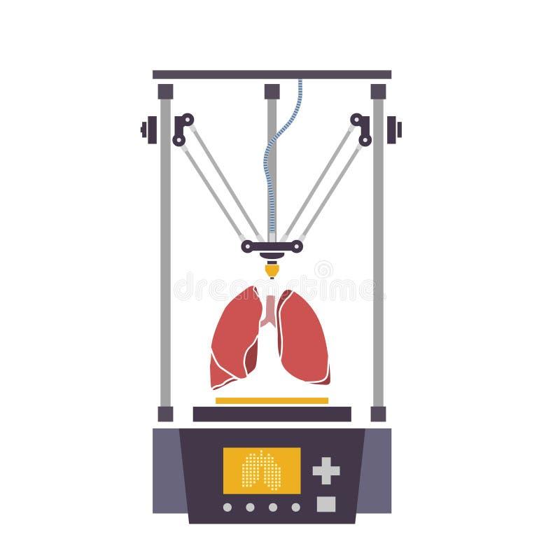 Медицинский принтер для повторянных человеческих органов Био-принтер 3D вектор бесплатная иллюстрация