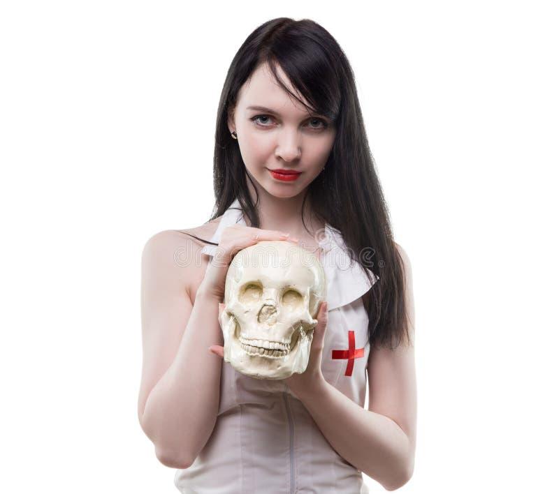 Медицинский череп работника и человека стоковые изображения rf
