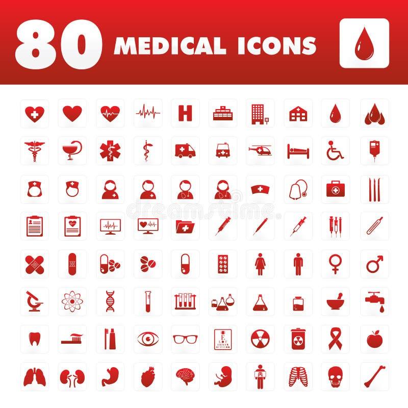 80 медицинских значков иллюстрация вектора