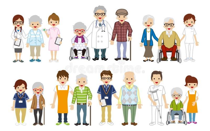 Медицинское занятие и старший комплект попечителя иллюстрация штока