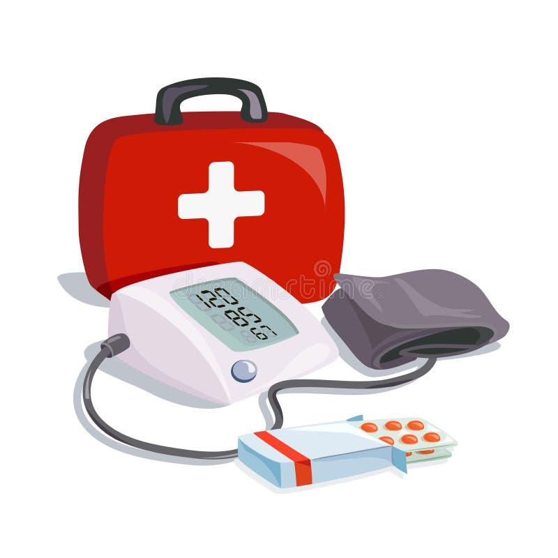 Медицинское оборудование здоровье внимательности рукояток изолировало запаздывания Прибор кровяного давления иллюстрация вектора