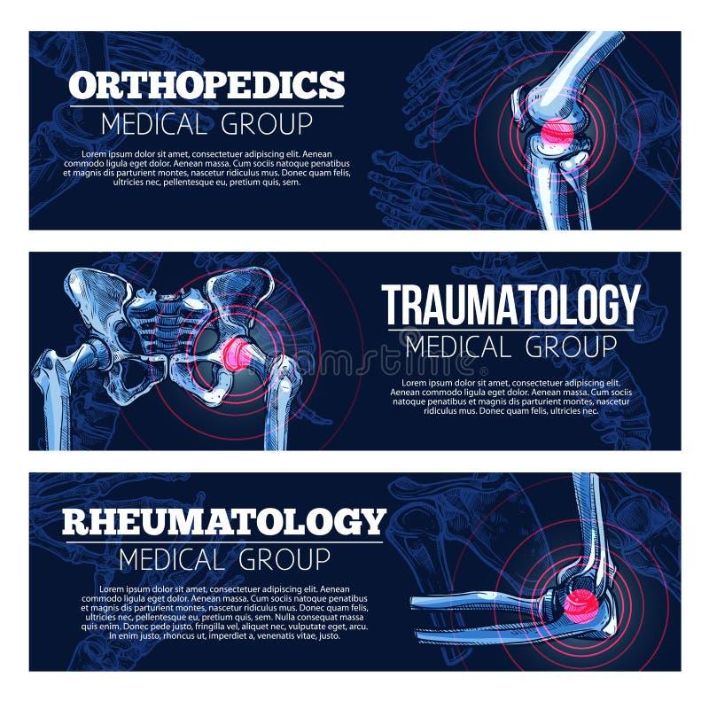 Медицинское orhtopedics знамен вектора, traumatology бесплатная иллюстрация