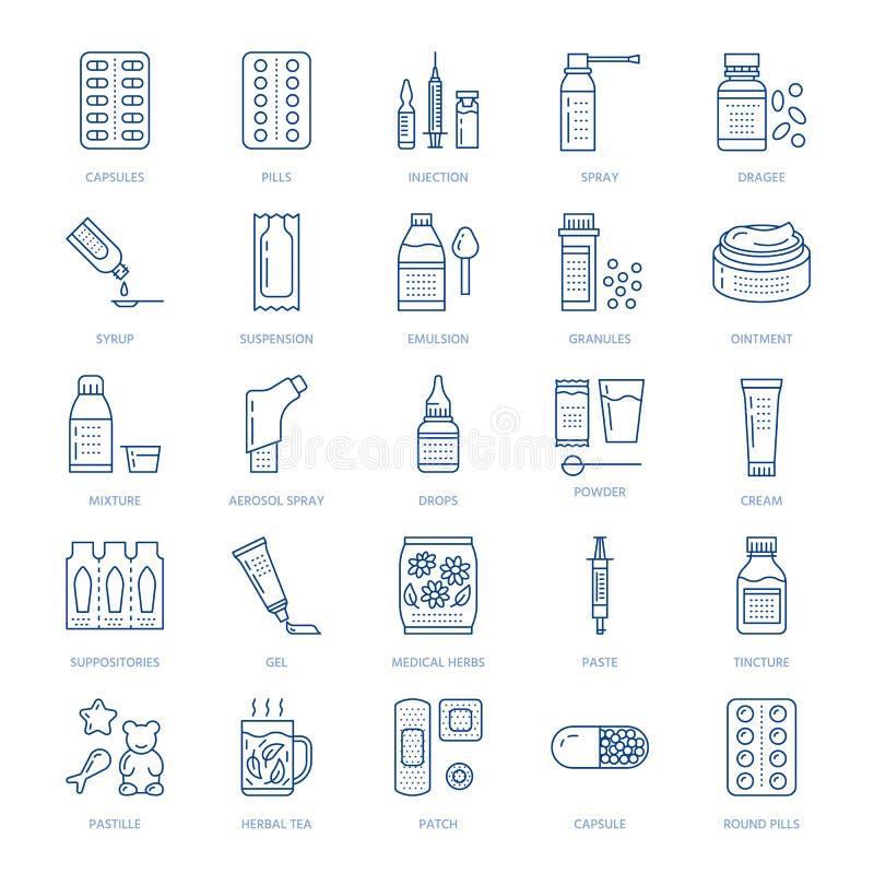 Медицины, линия значки форм дозировки Medicaments фармации, таблетка, капсулы, пилюльки, антибиотики, витамины, анальгетики иллюстрация штока