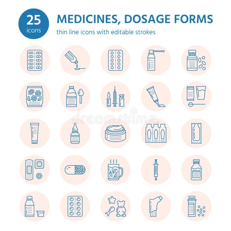 Медицины, линия значки форм дозировки Medicaments фармации, таблетка, капсулы, пилюльки антибиотик, витамин, анальгетик иллюстрация штока