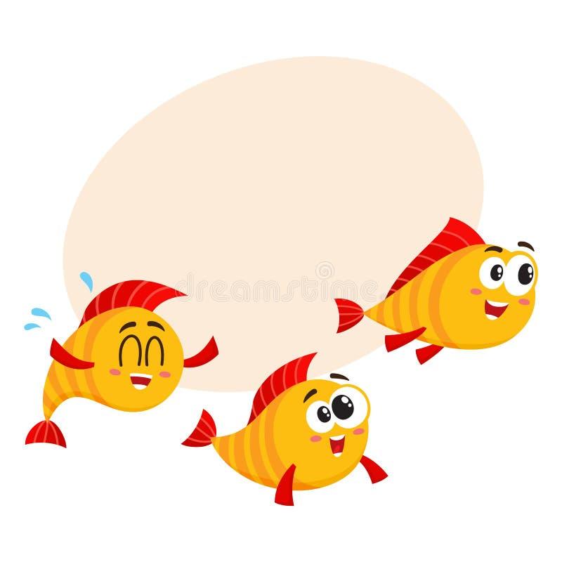 Мелководье 3 смешных золотых, желтых характеров рыб быстро проходя где-то бесплатная иллюстрация