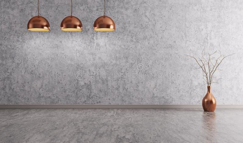 Медные лампы над переводом предпосылки 3d бетонной стены внутренним иллюстрация вектора