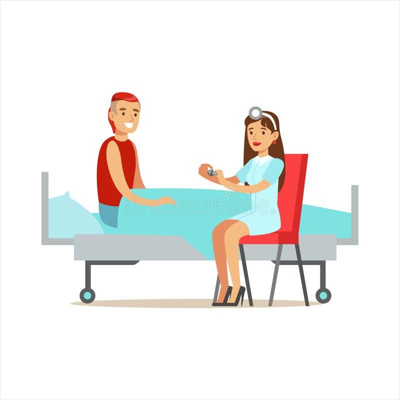 Медсестра давая лекарство предписанное пилюльками к пациенту, больнице и иллюстрации здравоохранения бесплатная иллюстрация