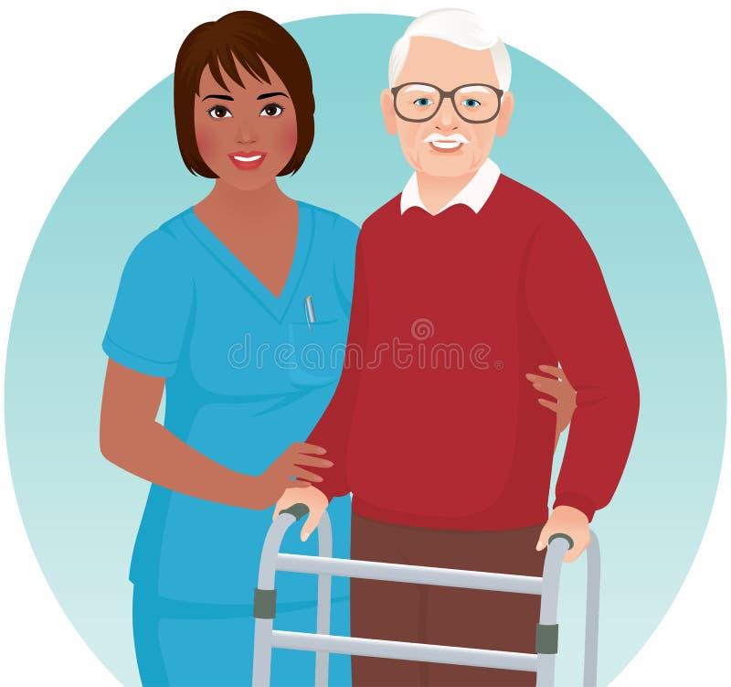 Медсестра помогает пожилому пациенту иллюстрация штока