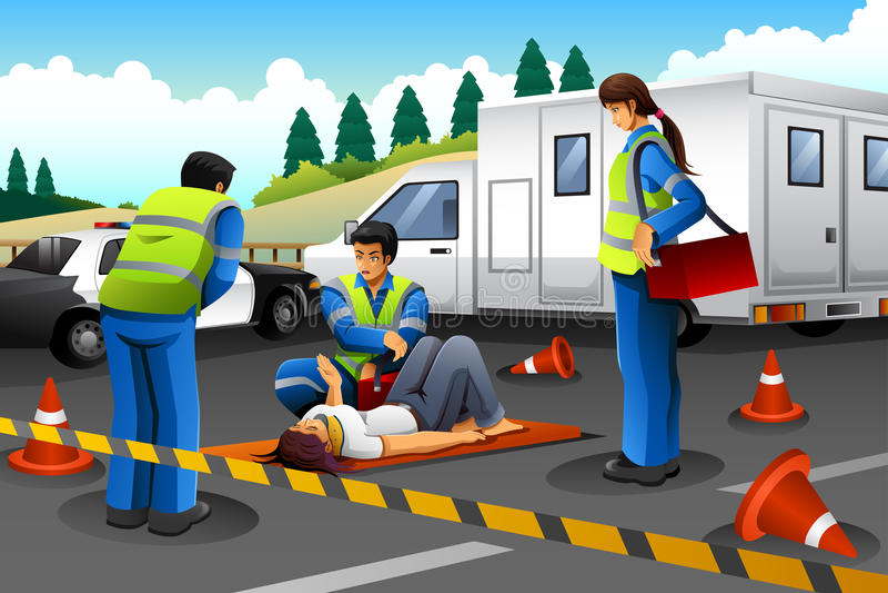 Медсотрудник давая помощь к раненой девушке бесплатная иллюстрация