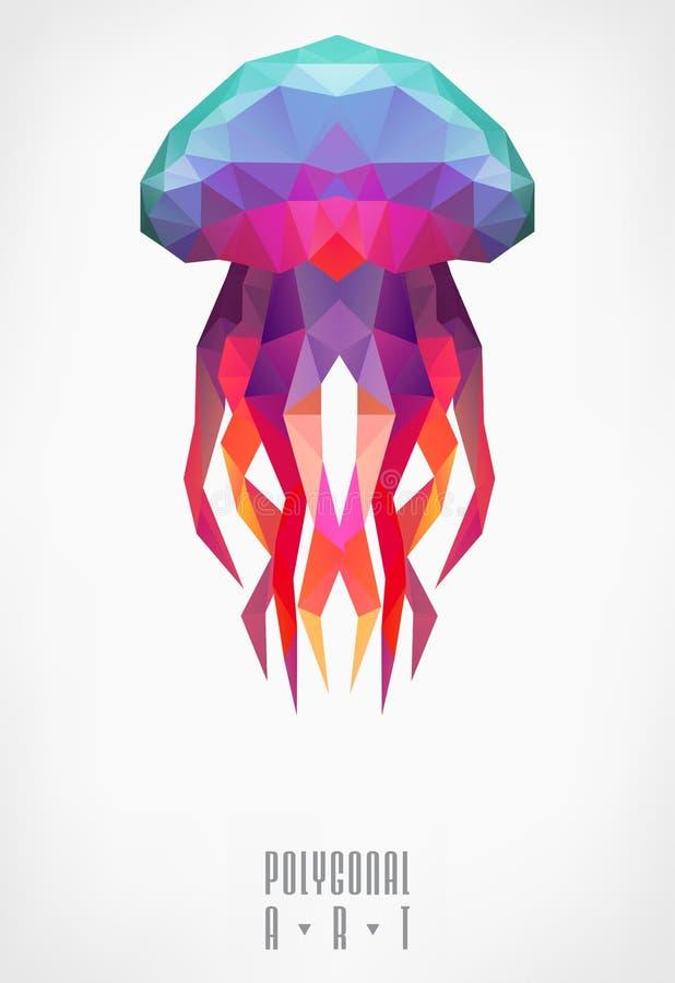 медузы полигональные иллюстрация штока