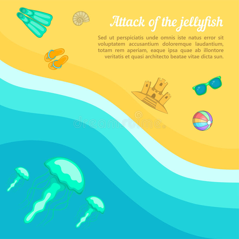 Медузы пляжа концепции остатков моря, стиль шаржа бесплатная иллюстрация