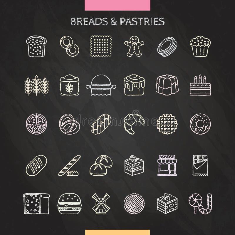 Мел хлеба и печенья иллюстрация штока