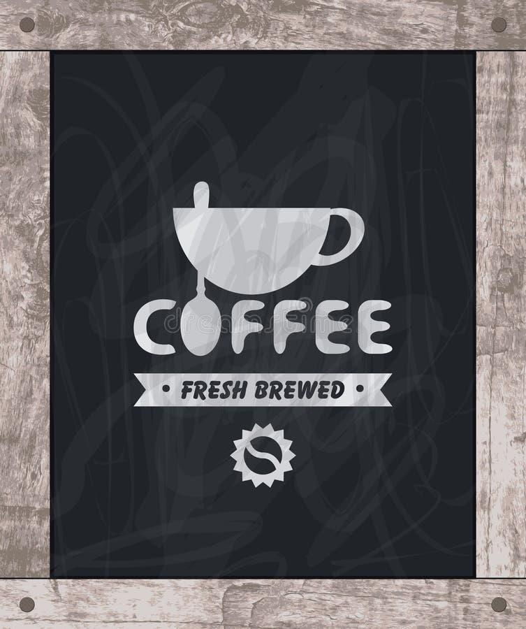 Мел чертежа кофейной чашки на борту в деревянной рамке иллюстрация штока