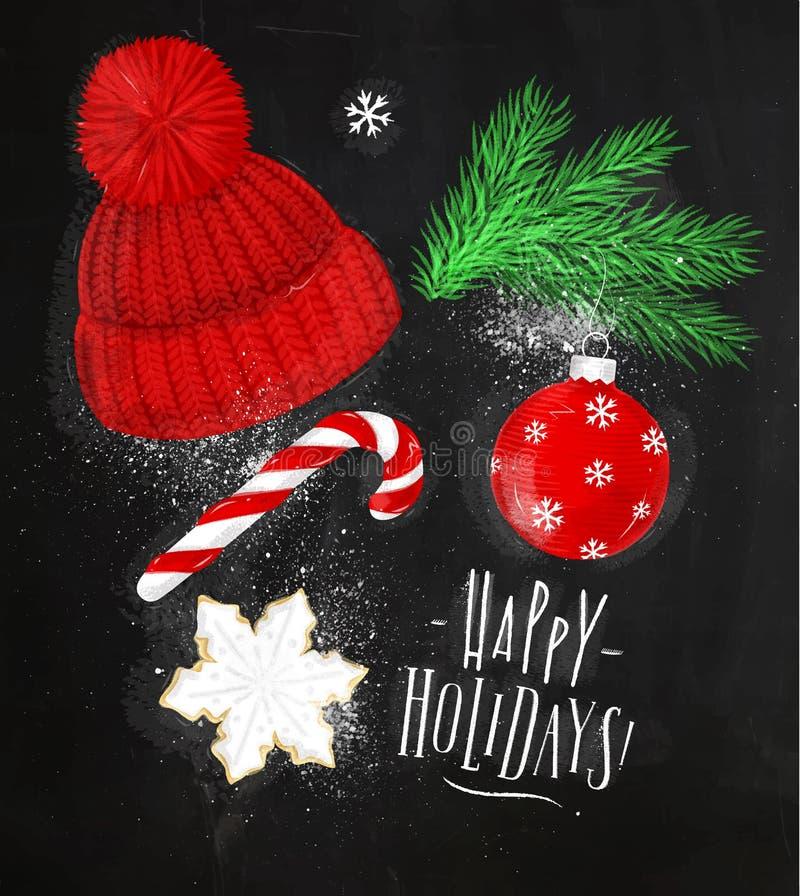 Мел шляпы символов рождества бесплатная иллюстрация