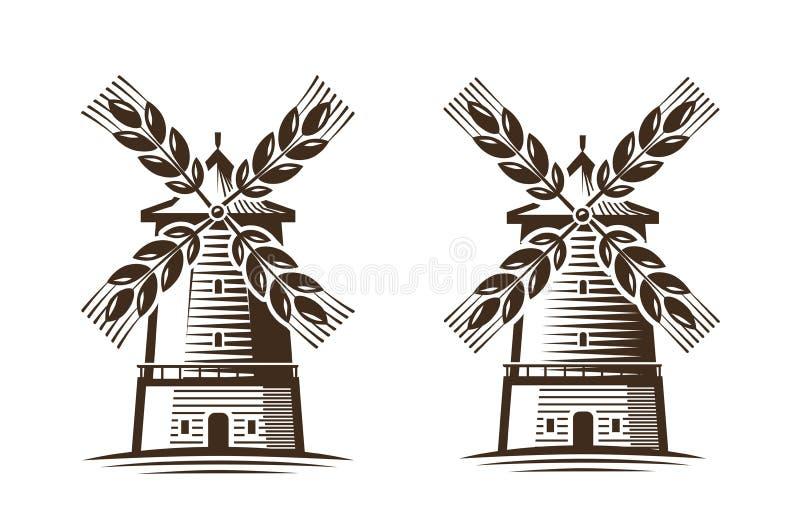 Мельница, значок ветрянки Земледелие, агробизнес, логотип хлебопекарни или ярлык иллюстрация вектора