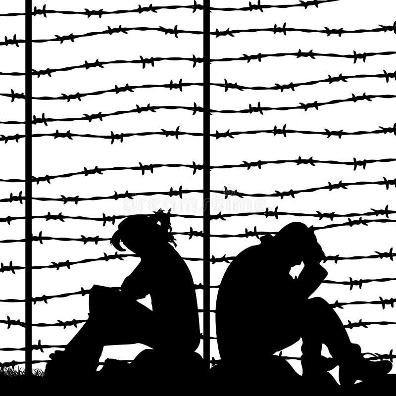 Мигрирующие беженцы за колючей проволокой, силуэтом пары унылого иллюстрация вектора