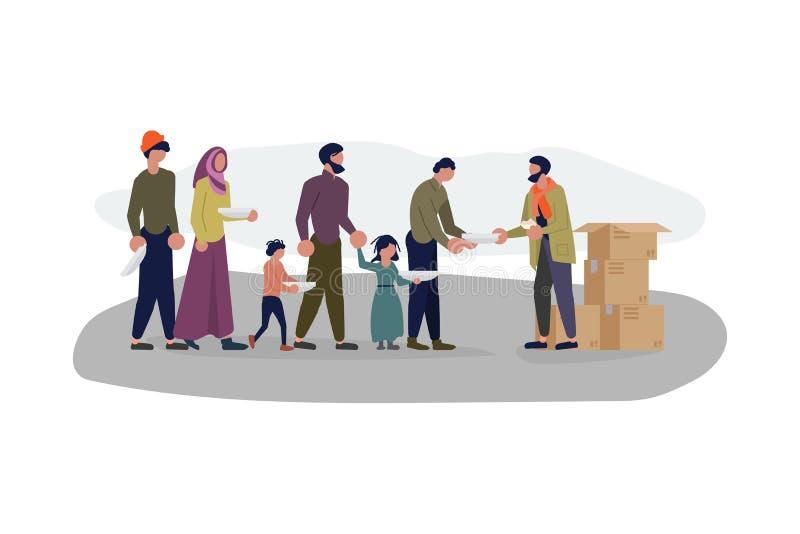 Мигрирующие люди в очереди для гуманитарной помощи бесплатная иллюстрация