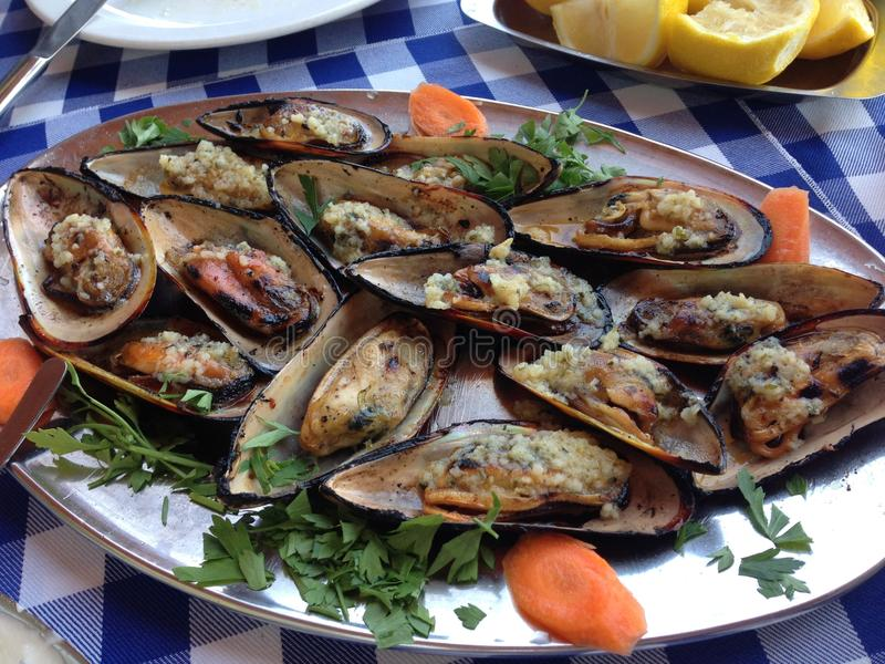 Мидии морепродуктов в плите стоковое фото rf